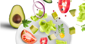 Mix of Avocados and Salad ingredients