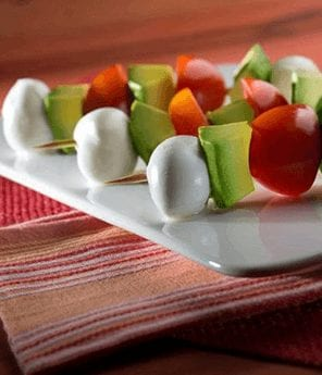 Avocado, Mozzarella, and Tomato Skewers with Balsamic Dipping Sauce