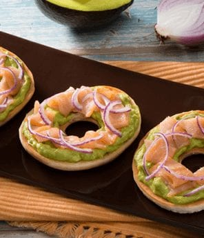 Bagels with Avocado Spread and Smoked Salmon