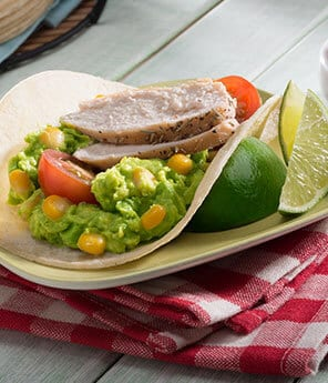 Lime Rubbed Chicken Tacos with Corn Guacamole