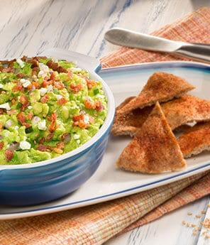 Goat Cheese, Bacon, Avocado Dip with Sesame Oil and Sumac Toasted Pita