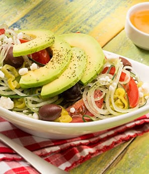 Greek Zoodles with Cucumber & Avocado