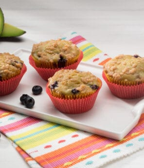 Blueberry and Avocado Muffins