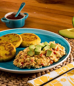 Avocado-Infused Arepa with Colombian Scrambled Eggs
