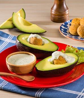 Avocado Stuffed with Chickpeas Meatball and Topped with Green Goddess Dressing