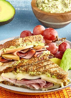 Ham & Swiss Panini with Apples, Honey & Avocado-Mustard Spread