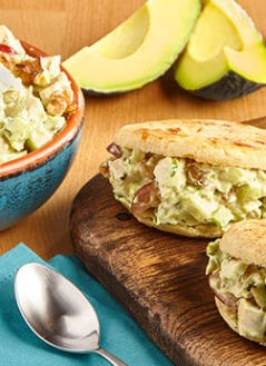 Cheesy Arepas with Avocado Fresco Chicken Salad