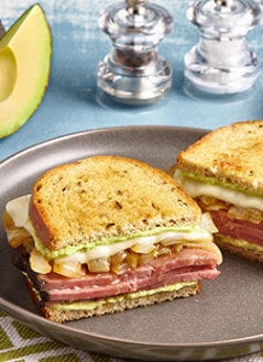 Roast Beef & Caramelized Onion Panini with Avo Horseradish Sauce