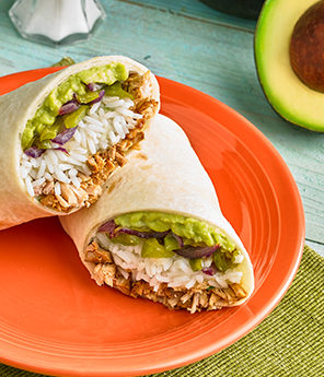 SIMPLE AVOCADO PULLED PORK BURRITO